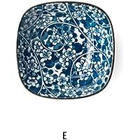 和風セラミック青と白の磁器キムチスナックシーズニング味噌椀クリエイティブソース料理味付けデザート穀物皿ライスボウルセット (Color : E)