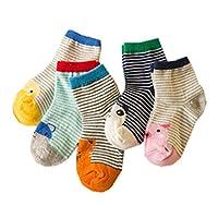 (リアルスタイル)Real Style ベビー 幼児用 キッズ 子供 靴下 ソックス アニマル 動物 パンダ ひよこ クマ ジュニア 5足 セット クルー丈 カラフル 女の子 男の子