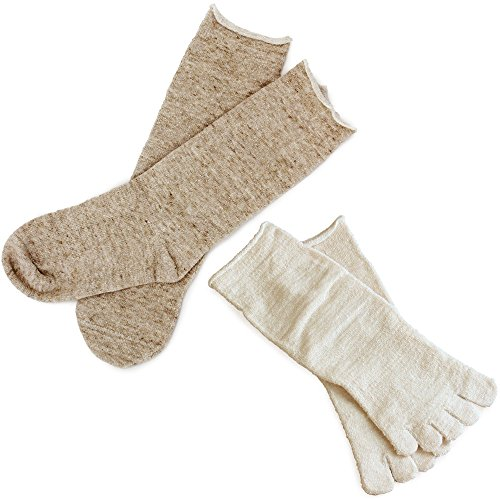hiorie(ヒオリエ) 日本製 冷えとり靴下 内絹外綿ソックス <Lサイズ> 2足セット 5本指+カバーソックス 杢ベージュ シルク