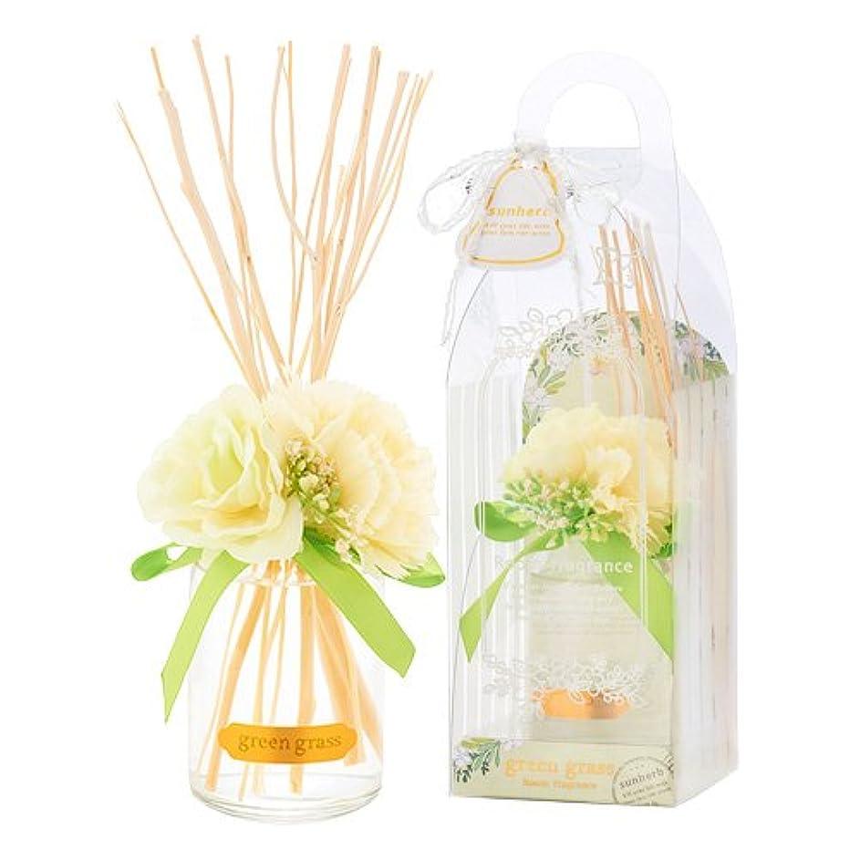 静かに神蓄積するサンハーブ ルームフレグランスフラワー グリーングラス 100ml(芳香剤 花かざり付 爽やかでちょっと大人の香り)