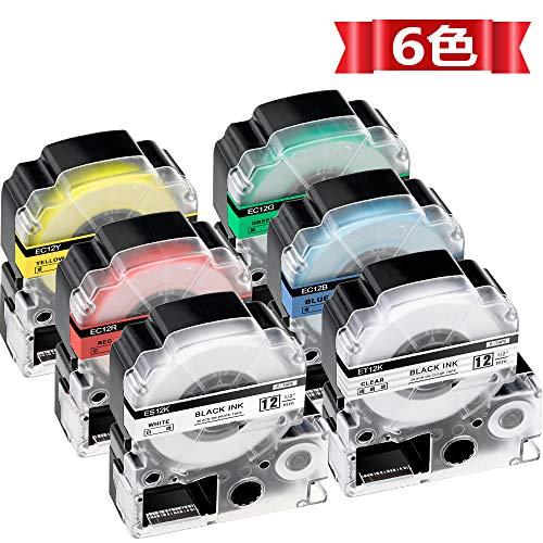 ASprint 6色の1セット 12mm テプラ テープ キングジム用 SS12K ST12K SC12R SC12Y SC12G SC12B KINGJIM 透...