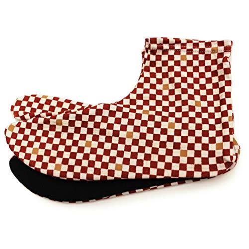 [オオキニ] 足袋 ストレッチ足袋 小紋 柄足袋 こはぜなし フリーサイズ 22.5~25cm 【I―F】市松レッド