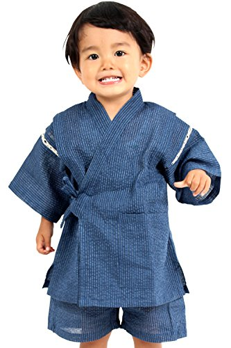 甚平 しじら織り 麻混 巾着付き 男の子 キッズ 子供服 [ブルー/150サイズ]
