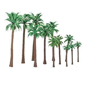 【ノーブランド品】鉄道模型 箱庭用 プラスチック製 椰子の木 6-11cm 4サイズミックス 12本
