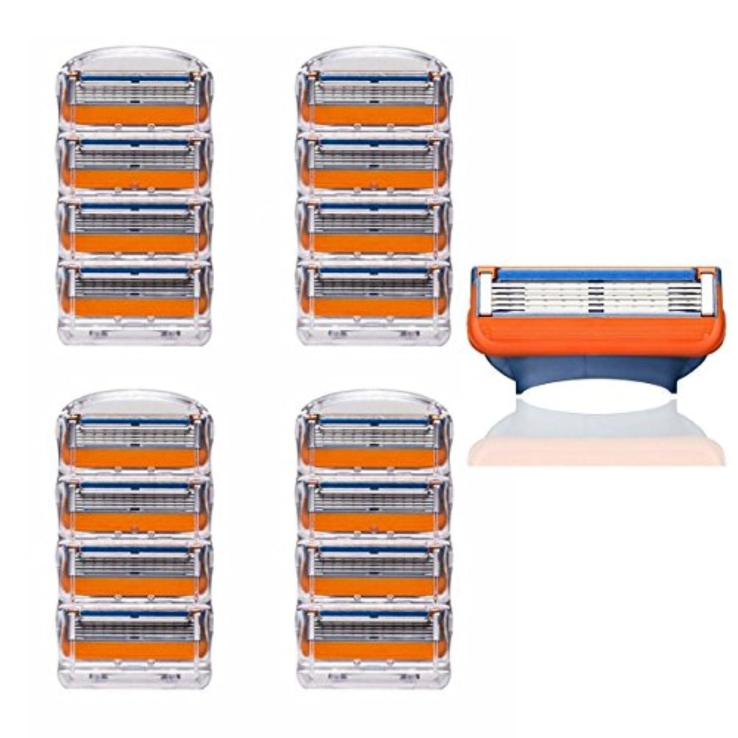 印刷する防ぐ宮殿KISENG 16枚 5刃シェーバーヘッド 交換用 シェービングカミソリ ジレットに適用