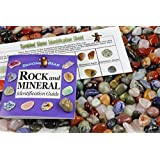 2 Pounds Tumbled Polished Natural Gem Stones + Educational Color ID Sheet & 24 page Rock & Mineral Book. Average Stone Size ?