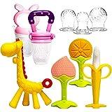 Baby Teething Toys 6Pcs Set with 2 Fruit Feeders BPA Free 3-6 Months Teethers Freezer Safe Soft Silicone Fruit Giraffe Teethe