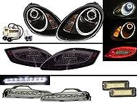CrazyTheGod Boxster 987 MK2 05-08 初期モデル オープンカー Cotton Angel-Eye HID Headlight Assembly+LED Tail Lights+DRLs COMBO V5 に PORSCHE ポルシェ 右駕