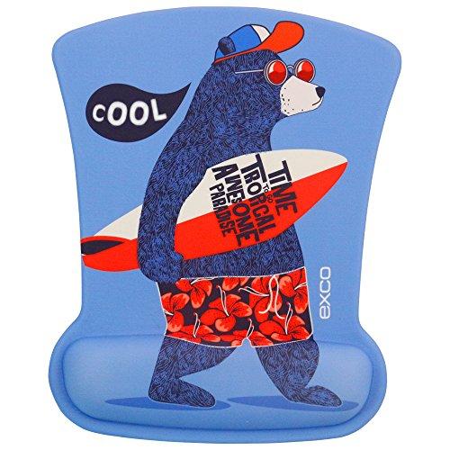 サーフィンクマ-EXCO滑り止めPUのオフィス人間工学に基づいたメモリフォームマウスパッド 手首?ゲ...