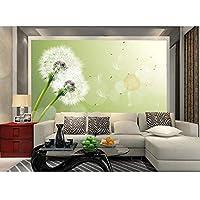 3D壁紙写真壁画不織布、タンポポの緑の花のボールテレビの壁画、壁のリビングルームの壁紙3D 280 cm(W)x 180 cm(H)