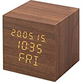 【1年保証有】 アイリスオーヤマ 置き時計 デジタル 目覚まし時計 めざまし時計 置時計 時計 木製 おしゃれ キューブ ブラウン ICW-02W-T