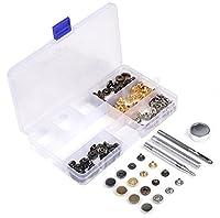 ホック打ち 工具 4種類 & ホック 4色 詰め合わせ ケース付 レザークラフト 工具 パーツ DIY 手作り