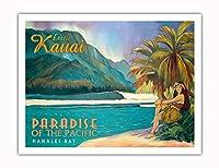 エキゾチックなカウアイ島、ハワイ - 太平洋のパラダイス - ハナレイベイ - ビンテージなハワイの旅行のポスター によって作成された リック・シャープ - アートポスター - 51cm x 66cm