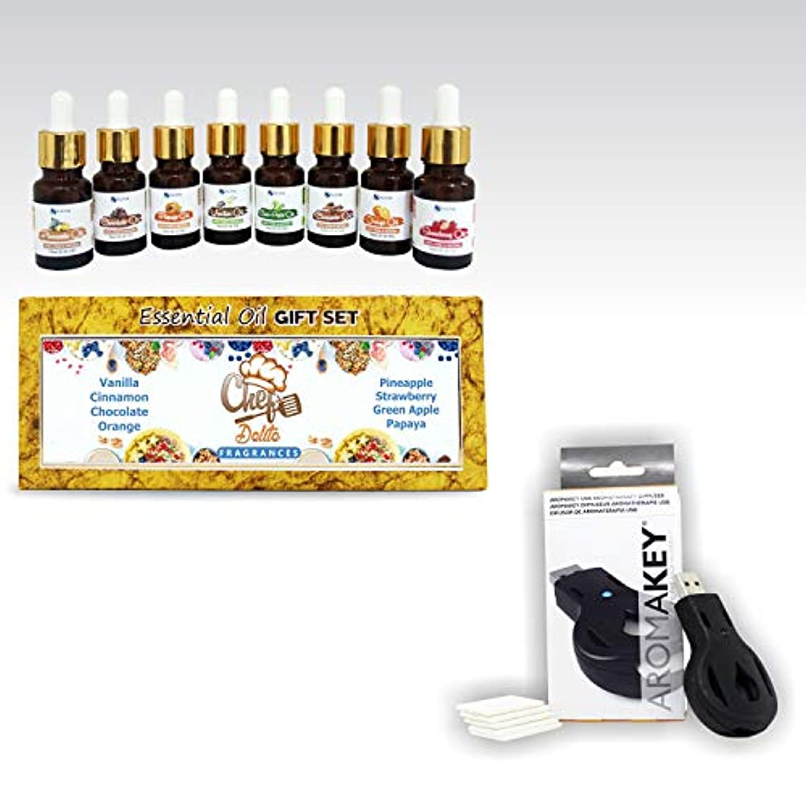 Aromatherapy Essential Oils - Chef's Delite (Pack of 8) 100% Pure & Natural Plus Aromakey USB Personal Diffuser...
