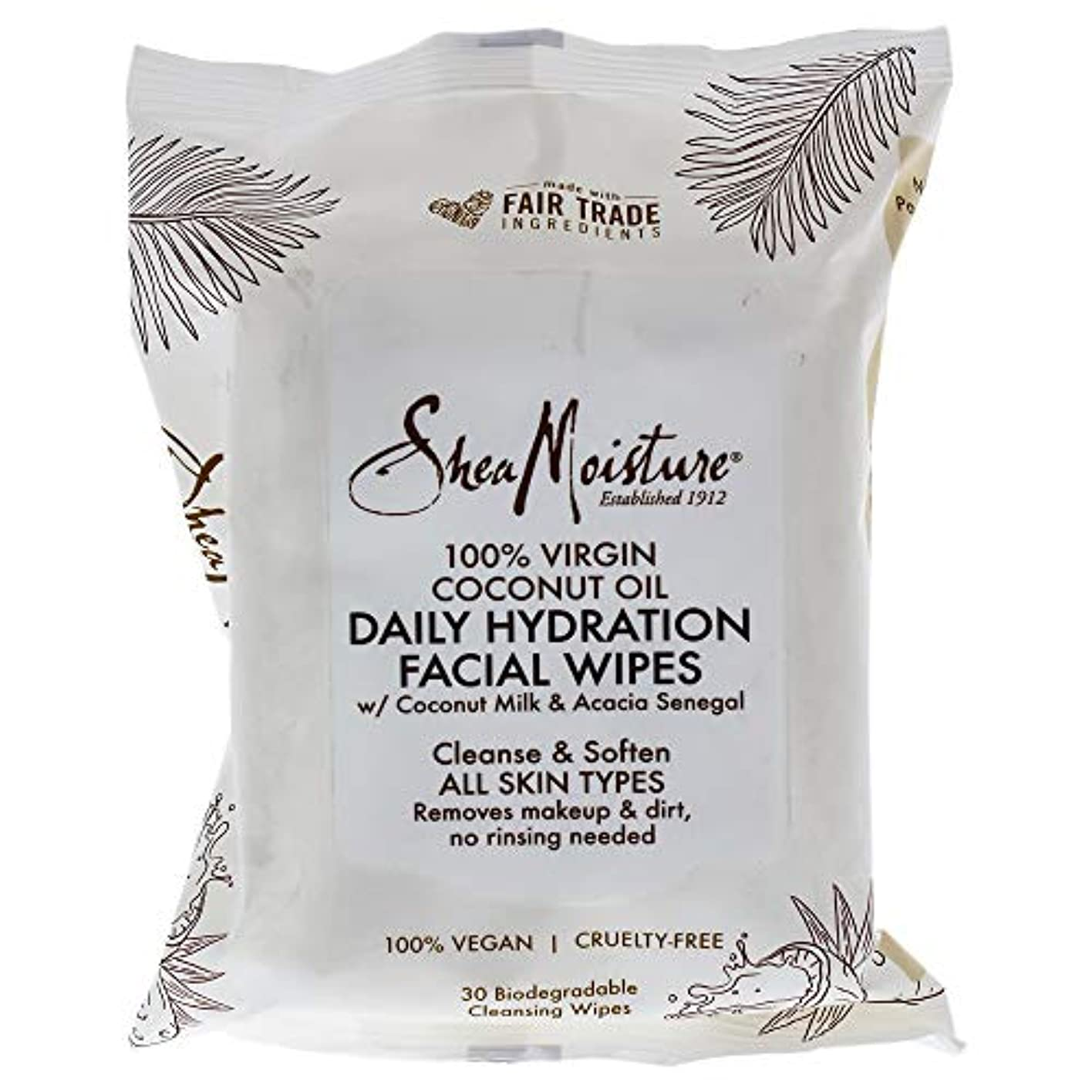膨張する田舎者割り当て100 Percent Virgin Coconut Oil Daily Hydration Facial Wipes
