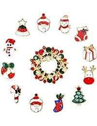Hanpabum クリスマスブローチピンセット かわいいエナメル クリスマスギフト サンタトナカイクリスマスツリー キャンディケーン リースピンセット チャームピンセット