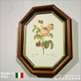 イタリア製 八角額絵(薔薇・ピンク)イタリア 額 壁掛け 額 風景 花