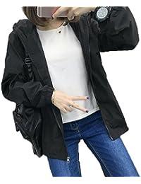 BAJIAN レディース パーカー スウェット コート ジャケット アウター フード付き ゆったり カジュアル シンプル ファッション カップル 通勤通学 ブラック L