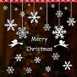 2枚セット クリスマス ウォールステッカー 窓 ステッカー クリスマスツリー サンタクロス 雪の結晶 DIY 可愛い クリスマス 新年 飾り (雪花)