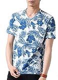 (アーケード) ARCADE メンズ 夏 天竺 総柄 Vネック ボタニカル 花柄 ボーダー カモフラ 迷彩 リゾート 半袖 Tシャツ XL Cサックス (¥ 795)