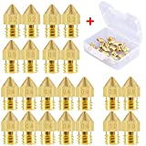 SODIAL 22 Pieces 3D Printer Nozzles MK8 Nozzle 0.2mm, 0.m, 0.4mm, 0.5mm, 0.6mm, 0.8mm, 1.0mm Extruder Print Head with Free Storage Box for 3D Printer Makerbot Creality CR-10
