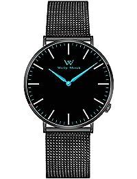 Welly Merck スイスブランド 超薄型 2針式 メンズ 腕時計 42MM黒文字盤 20MM 交換可能ブラックメッシュストラップ 5ATM防水