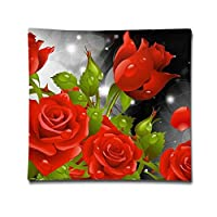Red Rose Artistic Illustration Pillowcase - Zippered Pillow Case Cover, Pillow Protector, Best Throw Pillow Cover - Standard Size 18x18 Inches, Double-sided Print Pillowcase Covers