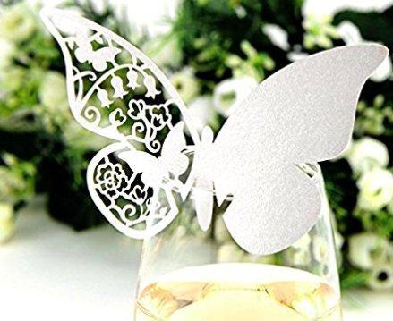(Bethesda Park) テーブル ワイン グラス メッセージ カード 結婚式 演出 席札 ラメ入り 50枚 (ローズゴールド(薄い))