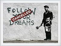 ポスター バンクシー Follow Your Dreams 額装品 ウッドハイグレードフレーム(ホワイト)