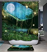 Wonderlandカビフリーシャワーカーテンフックバスルーム装飾撥水性、72x 72インチ、グリーン 590219