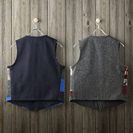 Patchwork Vest: Blue, Burgundy