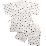 ボーイズキッズ浴衣|甚平[くろわっさんすべべ]男の子|男児|子供用マリン柄甚平上下セット日本製の綿100%生地使用 110cm ホワイト
