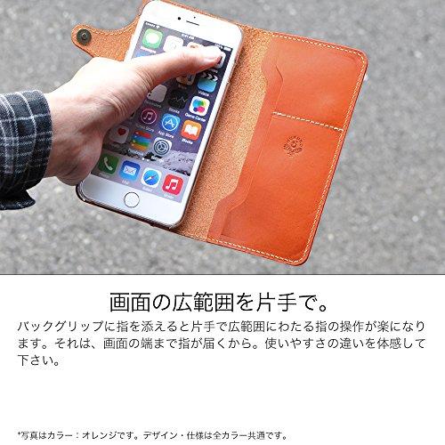 『iPhone6s Plus iPhone6 Plus 手帳型 ケース オイルレザー 本革(栃木レザー) (右手持ち, ブラウン)』の3枚目の画像