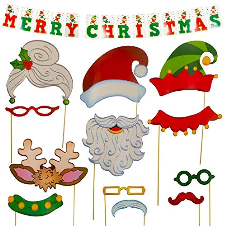 クリスマス写真ブース小道具セット| Complete Holiday自撮りStation with Santa and Elfプロペラとバナー背景