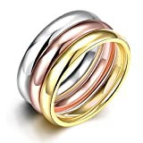 Rockyu ジュエリー ブランド メンズ レディース リング 3連リング 婚約 結婚 プロポーズ チタン鋼 婚約指輪 ゴールド 18k ピンクゴールド 金 プラチナ マルチカラー ギフトバッグ 指輪