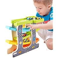 elfishjp くるくるスロープ 木製スロープ 木のくるま?汽車 滑空車 4台付属 木製玩具 知育玩具 ルーピング ビーズコースター スロープト