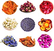 LVOPO Dried Flowers, Natural Dried Flower Herbs Kit for Bath, Soap Making, Candle Making - 9Bag Include Dried