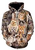 (ピゾフ) Pizoff トレーナーパーカー 長袖 メンズ 猫柄 総柄 おもしろ 原宿系 おしゃれ ストリート 男女兼用 Y1760-A3-XL