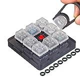 Akwox 9キーチェリーMXスイッチテスター、Keycapプラー、キーボードKeycap、Oリングサンプラーテスターキット