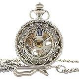 手巻き式 懐中時計 フックチェーン + ボールチェーン/ 革紐 + 収納ケース セット (シルバー)