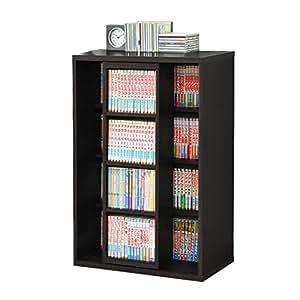 本棚 スライド書棚 スリム シングル スライド式本棚 木製 本棚 ブックシェルフ ラック コミック 文庫 収納 幅60cm (ブラック)