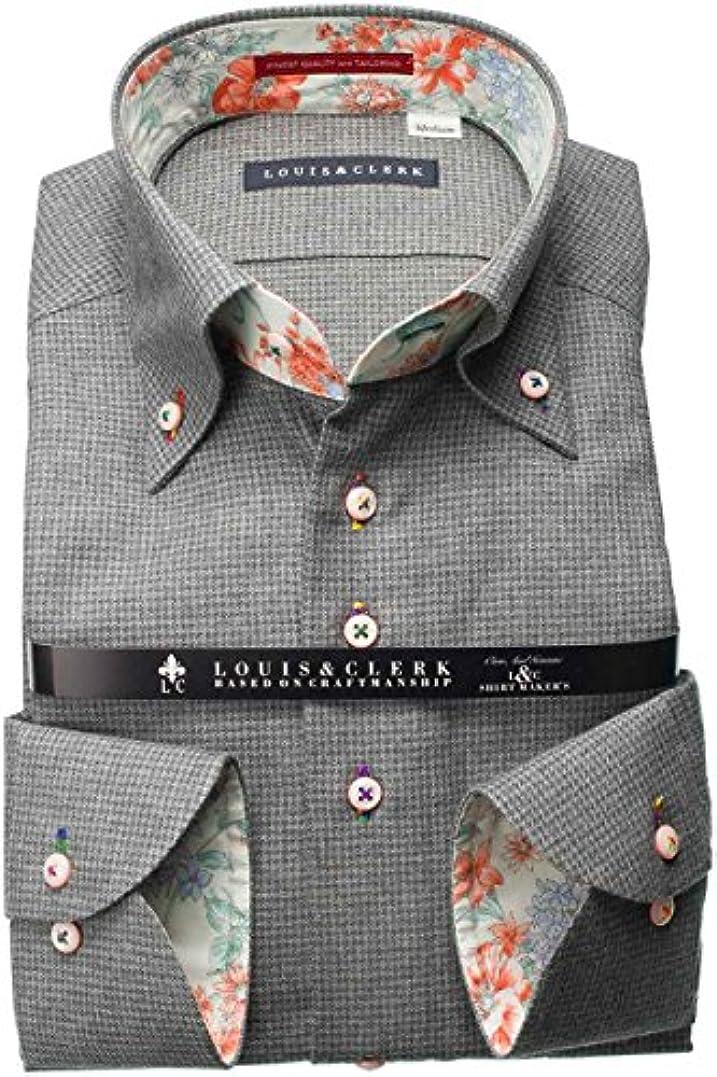 顕現ドールレプリカRHD158-011-0104-M (ルイス&クラーク) メンズ長袖ワイシャツ 灰色 チェック | 灰色/M