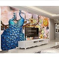Wuyyii カスタム壁紙家の装飾フレスコ画3Dカラフルな孔雀祝福された背景壁の壁画写真3Dの壁紙-200X140Cm