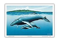 新生 - ハワイのザトウクジラ - 母と彼女のふくらはぎ - ペイントされた元の色からのものです によって作成された マーク・マッカイ - アートポスター - 23cm x 31cm