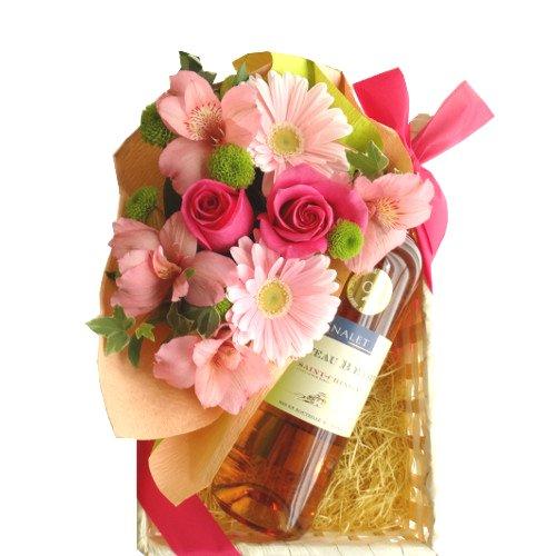 ロゼワインとお花のギフト 南フランス サン・シニアンのロゼワ...