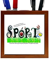 Rikki Knight RK-PH1522 Sports Word picture Design 5-Inch Wooden Tile Pen Holder (RK-PH1522) [並行輸入品]