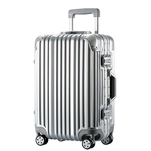 [トラベルハウス]Travelhouse スーツケース キャリーバッグ アルミフレーム スクラッチ仕上げ 超軽量 大容量 TSAロック  (M, シルバー)