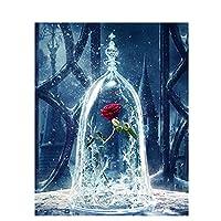 LovetheFamily 数字油絵 数字キット塗り絵 手塗り DIY絵 デジタル油絵 瓶の中のバラ 40x50cm ホーム オフィス装飾