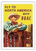 北米に飛びます - BOACと(英国海外航空株式会社) - ビンテージな航空会社のポスター によって作成された ヘイズ c.1953 - 美しいポスターアート