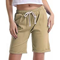 Gooket Women's Elastic Waist Cotton Linen Casual Beach Shorts with Drawstring